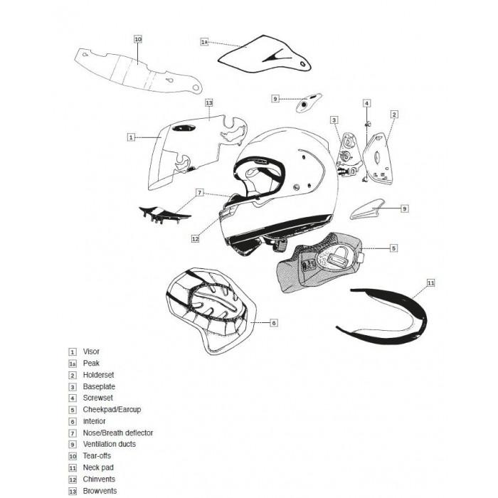Coussin joue AXCES-3 ARAI casque intégral 25mm
