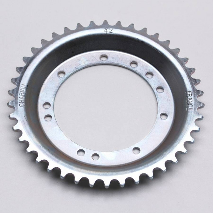 Couronne cyclo adaptable peugeot 103 roue rayons 42 dts (alesage 94mm) 11 trous -selection p2r-