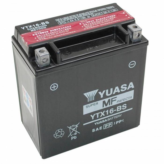 Batterie 12v 14 ah ytx16-bs yuasa mf sans entretien livree avec pack acide (lg150xl87xh161)