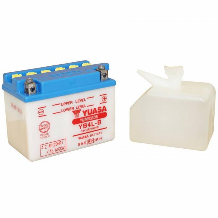 Batterie 12v 4 ah yb4l-b yuasa yumicron avec entretien livree avec pack acide (lg120xl70xh92)