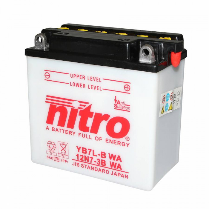Batterie 12v 8 ah yb7l-b nitro avec entretien (lg136xl76xh131)