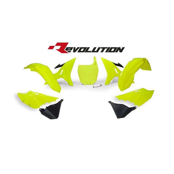 Kit plastiques RACETECH Revolution sans réservoir jaune/noir Yamaha