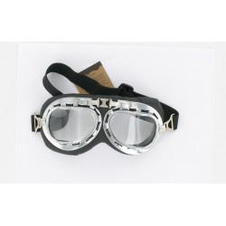 Lunettes chrome et noir type aviateur HOMOLOGUE CE T01