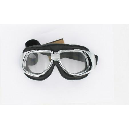 Lunettes chrome et noir type aviateur HOMOLOGUE CE T10