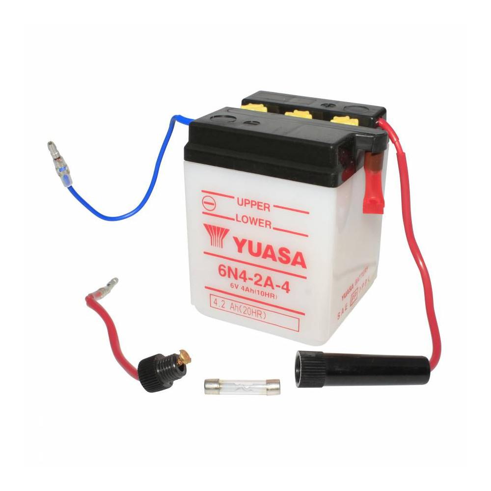 Batterie 6v 4 ah 6n4-2a-4 yuasa conventionnelle avec ...