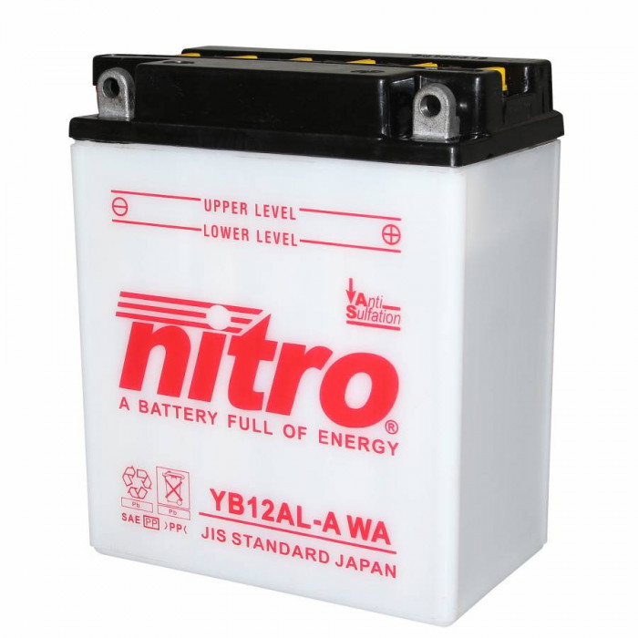Batterie 12v 12ah yb12al-a nitro avec entretien (lg134xl80xh160)