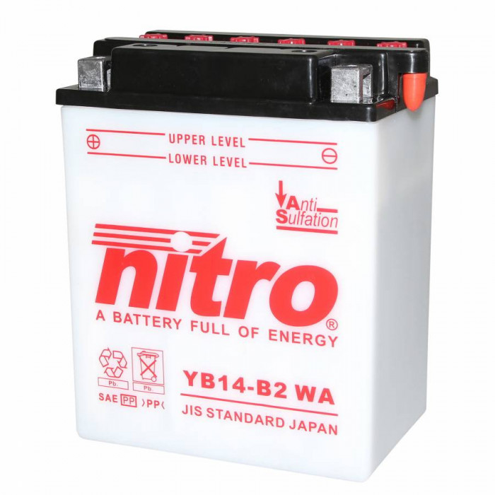 Batterie 12v 14ah yb14-b2 nitro avec entretien (lg134xl89xh164)