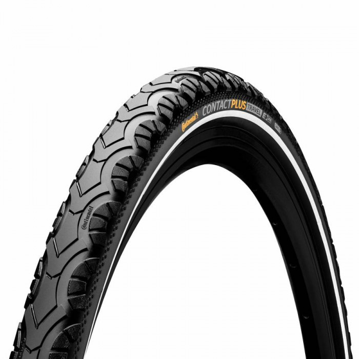 Pneu vtt 26 x 2.00 continental contact plus travel noir tr (50-559) renfort 5mm homologue vae-e-bike 25km-h flanc reflex