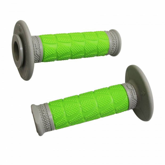 Revetement poignee progrip off road 783 double densite base gris-vert 115mm (paire) (cross-mx)