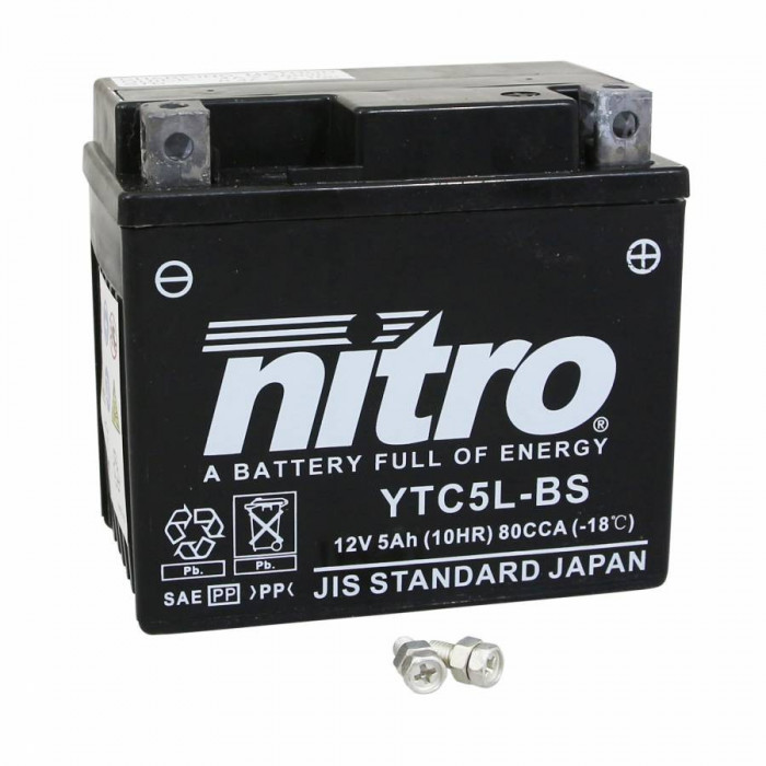 Batterie 12v 5 ah ytc5l-bs nitro sans entretien gel pret a l'emploi (lg120xl71xh91)