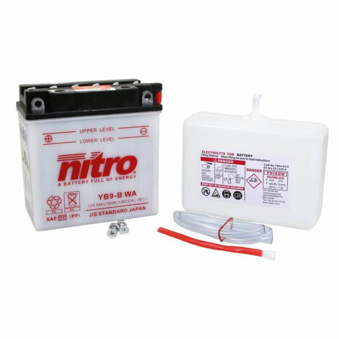 Batterie 12v 9 ah yb9b nitro avec entretien (lg135xl75xh139)