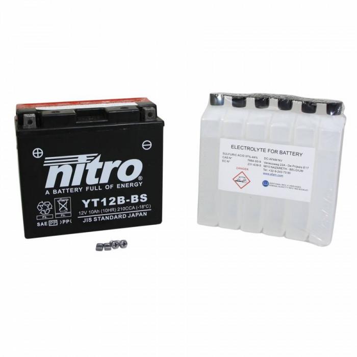 Batterie 12v 10ah yt12b-bs nitro sans entretien livree avec pack acide (lg150xl69xh130)