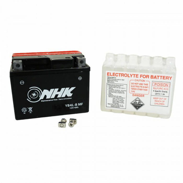 Batterie 12v 4 ah yb4l-b nhk sans entretien livree avec pack acide (lg114xl71xh86) (qualite premium)