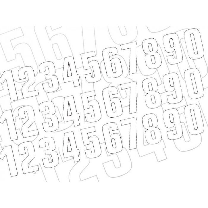 Numéro de course 6 BLACKBIRD 7x5,5cm blanc jeu de 3