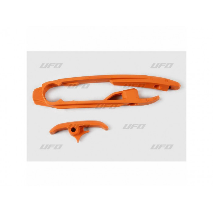 Kit patin de bras oscillant + patin de chaîne inférieur UFO orange KTM