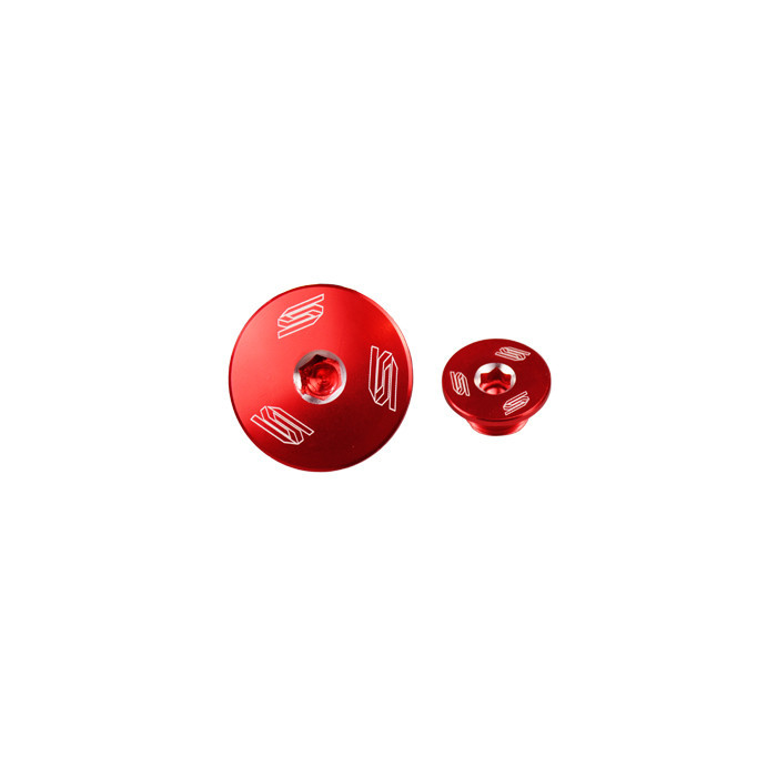 Bouchons carter moteur latéraux SCAR rouge Kawasaki