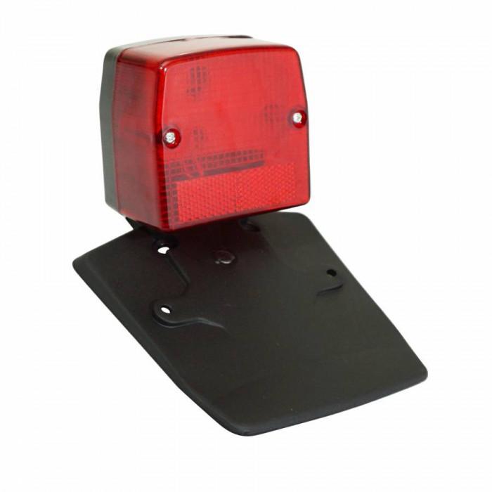 Feu arriere cyclo adaptable peugeot 103 spx rouge avec support de plaque -selection p2r-