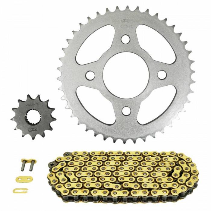 Kit chaine adaptable mash 125 srambler 2014+2016 428 13x42 (diam couronne 58-90-10.5) (demultiplication origine) -afam-