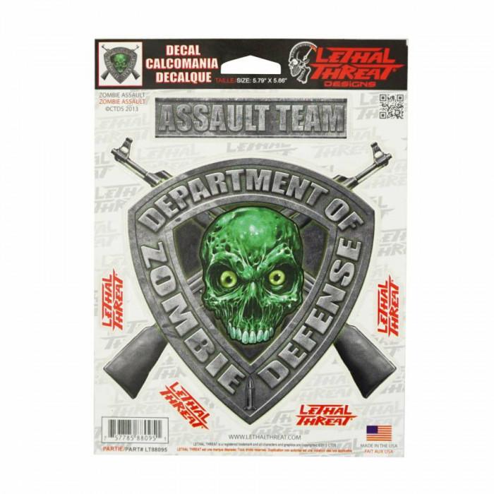 Autocollant-sticker lethal threat zombie defense vert (15x20cm) (lt88095)