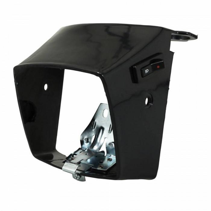 Capot phare-projecteur cyclo adaptable peugeot 103 mvl, vogue noir (avec patte et ressort) -selection p2r-