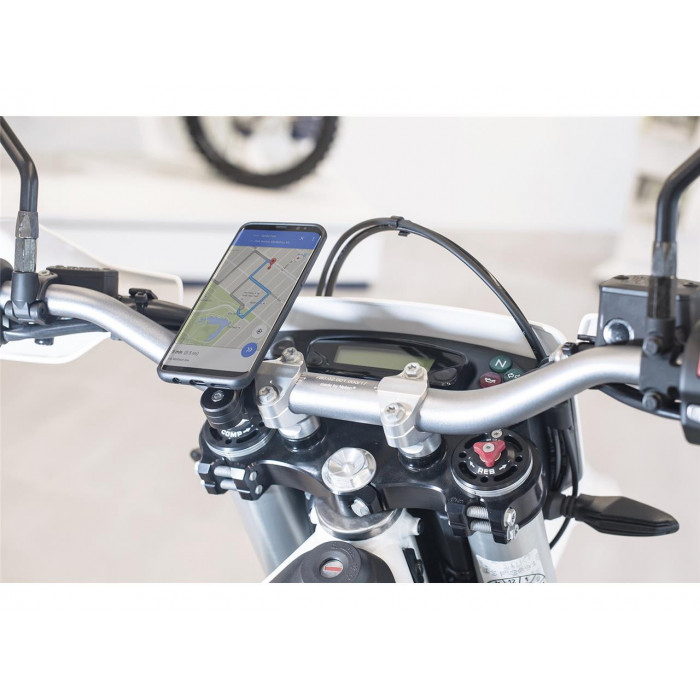 Pack complet SP-CONNECT Moto Bundle fixé sur guidon iPhone XR