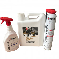 Pack IPONE huile 10w50 KATANA FP + nettoyant MOTOWASH + Spray X-Trem Chain'