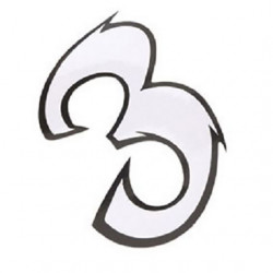 Autocollant numero 3 blanc l 9