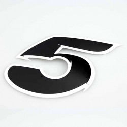 Autocollant numero 5 noir l 9